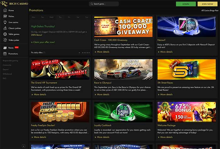 Richcasino Promotions and Bonuses
